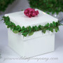 Glossy White Wedding Favor Box with Boxwood Leaf Garland