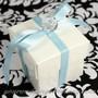 White Wedding Favor Box Wrapped in Blue Ribbon w/ charm