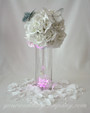 Glittered Feather Butterflies - Silver on White Wedding Centerpice