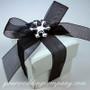 Acrylic Rhinestone Snowflake Accent - Black & White Wedding Favor Box