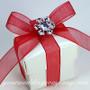 Acrylic Rhinestone Snowflake Accent - Red & White Wedding Favor Box