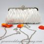 White Satin Evening Handbag-Clutch-Purse
