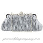 Silver Satin Evening Handbag-Clutch-Purse