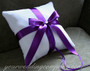White Velvet Ring Pillow with Purple Satin Ribbon