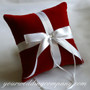 Red Velvet Ring Pillow with White Satin Ribbon