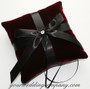 Burgundy Velvet Ring Pillow with Black Satin Ribbon