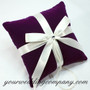 Purple Velvet Ring Pillow with Ivory Satin Ribbon