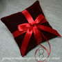 Burgundy Velvet Ring Pillow with Red Satin Ribbon