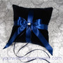 Navy Blue Velvet Ring Pillow with Navy Blue Satin Ribbon