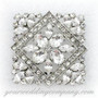 Swarovski Crystal Square Brooch - Wedding Accessory