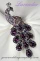 Swarovski Crystal Peacock Brooch - Lavender