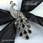 Swarovski Crystal Peacock Brooch - Black