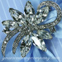 Swarovski Crystal Floral Swirl Brooch - Wedding Accessory