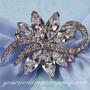 Swarovski Crystal Floral Swirl Brooch - Wedding Accessory