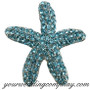 Crystal Starfish Brooch - Aqua Blue