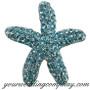 Crystal Starfish Brooch - Aqua Blue
