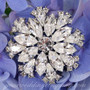 Swarovski Crystal Round Florette Wedding Brooch