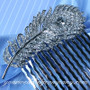 Black Swarovski Crystal Feather Hair Comb - Wedding Accessory
