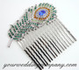 Green Swarovski Crystal Feather Hair Comb - Wedding Accessory