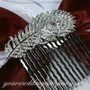 Clear Swarovski Crystal Feather Hair Comb - Wedding Accessory