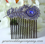 Blue Swarovski Crystal Feather Hair Comb - Wedding Accessory