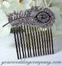 Black Swarovski Crystal Feather Hair Comb - Wedding Accessory