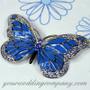 Turquoise Crystal & Enamel Butterfly Brooch - Wedding Accessory