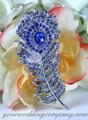 Blue - Swarovski Crystal Feather Brooch