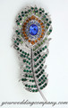 Green Amber Blue - Swarovski Crystal Feather Brooch