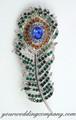 Green Amber Blue - Swarovski Crystal Feather Brooch