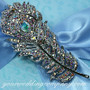 Swarovski Crystal Feather Brooch - AB Clear