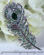 Light Green - Swarovski Crystal Feather Brooch