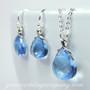 Blue Briolette Swarovski Crystal Earrings and Necklace Set
