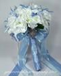 Rhinestone Floral Picks - White & Blue Wedding Bouquet Accents