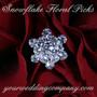 Rhinestone Snowflake Floral Picks - On Red Roses