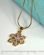 Detailed View - Gold & Crystal Snowflake Pendant Necklace