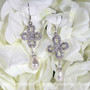 Crystal Clover &amp Pearl Bridal Earrings