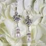 Crystal Lotus Flower & Pearl Bridal Earrings