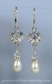 Crystal Lotus Flower & Pearl Bridal Earrings
