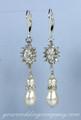 Crystal Sunflower Pearl-Drop Bridal Earrings