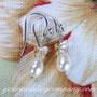 Freshwater Pearl & Butterfly Wedding Earrings