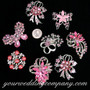 Crystal Brooch Lot #6 (Pink Stones)