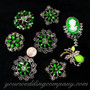 Crystal Brooch Lot #10 (Green Stones)