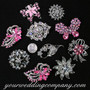 Crystal Brooch Lot #14 (Pink & Clear Stones)
