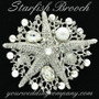 Large Starfish & Pearl Brooch