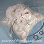 Silver and White Floral Ring Pillow