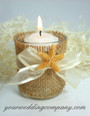 Votive Candle with Ribbon and Starfish Accents