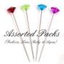 Acrylic Crystal Flower Pins - Assorted (Aqua, Ruby, Lime, Fuchsia)
