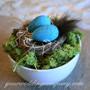 Robin Egg Centerpiece with Reindeer Moss