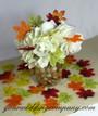 Centerpiece with Miniature Silk Fall Leaves Scattered